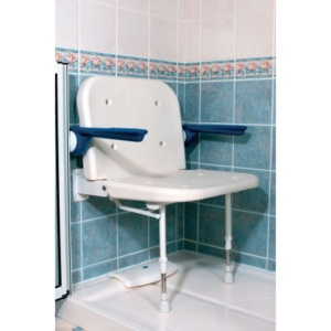 AKW Series 4000 Extra Wide Shower Seat with Back and Arms – White Unpadded