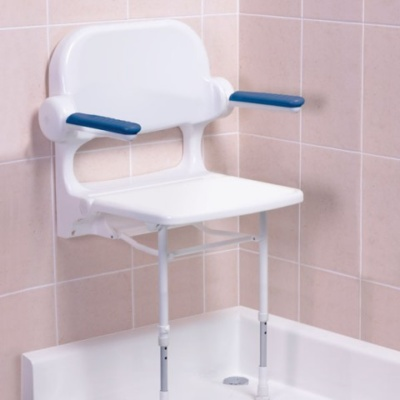 AKW 2000 Series Standard Fold Up Shower Seat with Back and Arms - White Unpadded