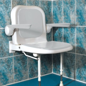 AKW 4000 Series Standard Shower Seat with Back and Arms – White Unpadded