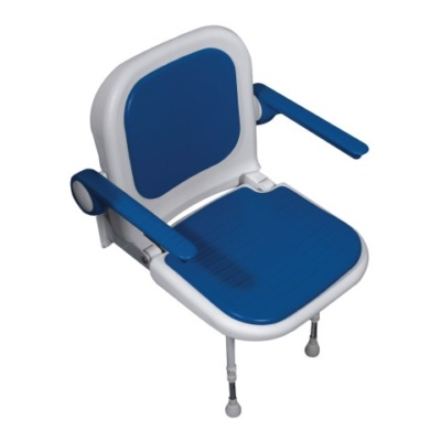 AKW 4000 Series Standard Shower Seat with Back & Arms – Blue Padded