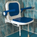 AKW 4000 Series Standard Shower Seat with Back and Arms - Blue Padded