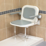 AKW standard shower seat with back and arms (Grey Padded)