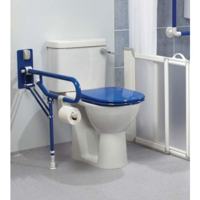 AKW Fold up double support rail with leg - (32mm) Blue