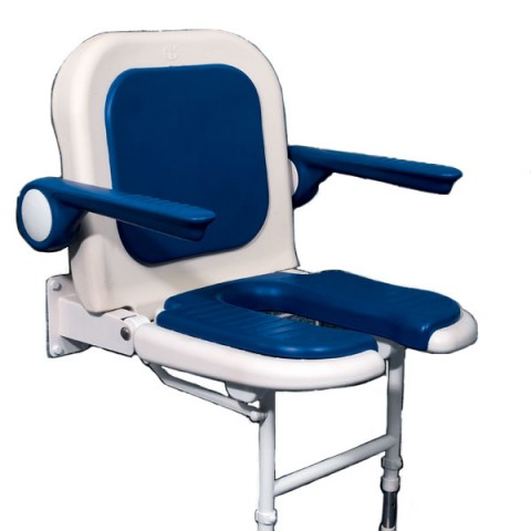 AKW 4000 Series Standard Horseshoe Seat with Back and Arms - Blue Padded