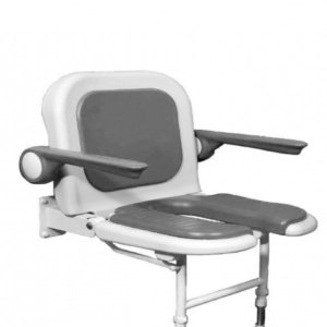 AKW 4000 Series Extra Wide Horseshoe Shower Seat with Back and Arms - Grey Padded