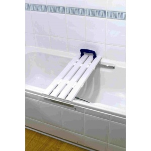AKW White Four Slatted Bath Board with Blue Handles