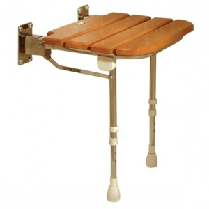 AKW Fold Up Wooden Slatted Shower Seat with Support Legs