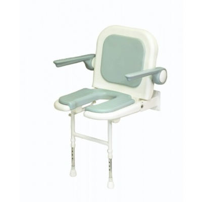 AKW 4000 Series Standard Horseshoe Shower Seat with Back and Arms – Grey Padded