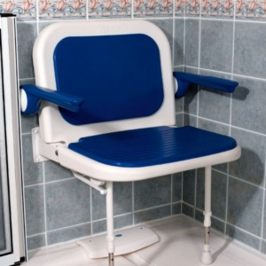 AKW 4000 Series Extra Wide Shower Seat with Back and Arms – Blue Padded