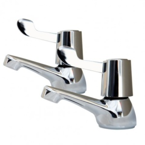 AKW Domestic Bathroom Lever Taps Pair – Chrome