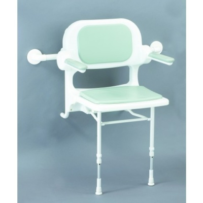 AKW 2000 Series Fold up Shower Seat with hanging bracket (Fully Padded Blue)