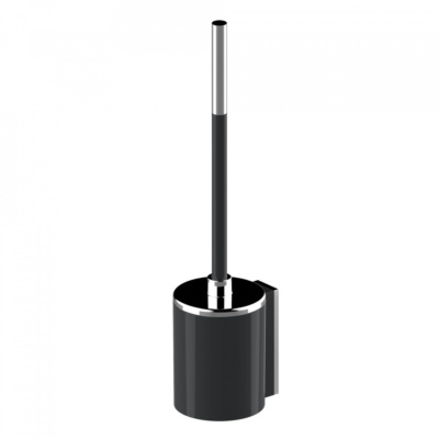 Product Details Onyx Toilet Brush Black and Chrome Floor or Wall Mounted 2 Screws to attach to wall Simple snap fit to remove holder from wall plate Removable toilet brush lid to reduce size and allow longer reach Removable cup for cleaning. Size : 114mm x 427mm x 97mm Materials : ABS Chrome and Colour Plated Logo: Featured on top and underneath of toilet brush holder