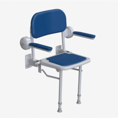 AKW 1000 Series Compact Fold Up Shower Seat with Pad – Blue