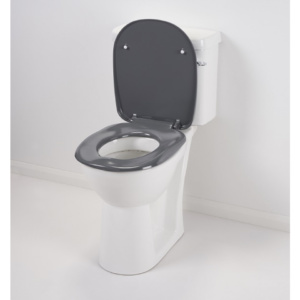 Grey Ergonomic Toilet Seat with Lid
