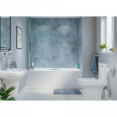 AKW Hinged Square Top Bath Shower Screen 800mm