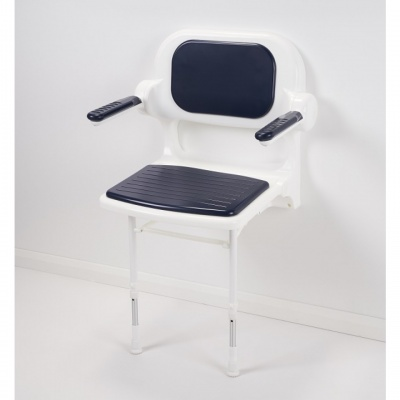 AKW 2000 Series Fold Up Shower Seat with Back and Arms Dark Blue Padded
