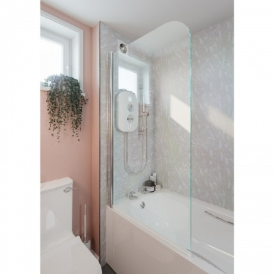 Hinged Curved Top Bath Shower Screen 800mm