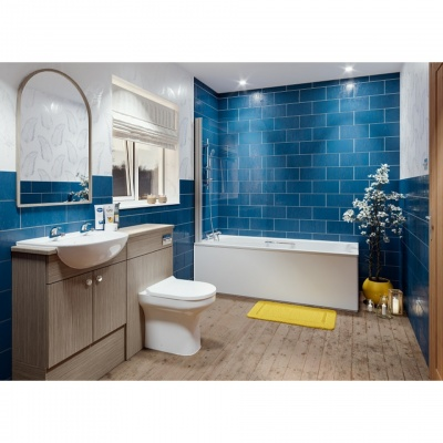 Hinged Square Top Bath Shower Screen 1000mm